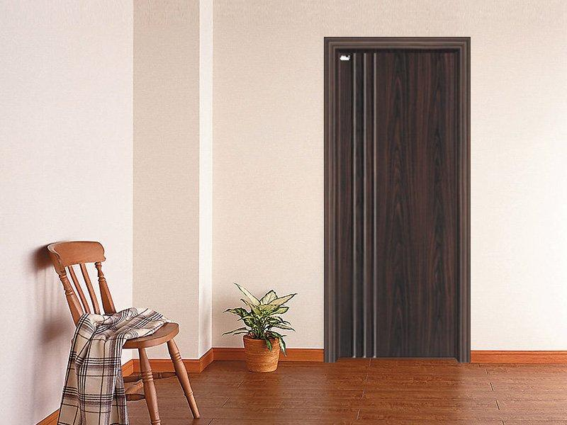 Straight lines walnut wood grain PVC door  DS-V16