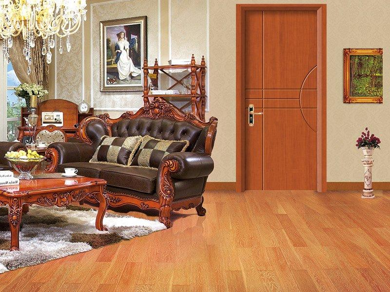 Crossing lines and circular arch cut decorative Sapele wood door DS-7633