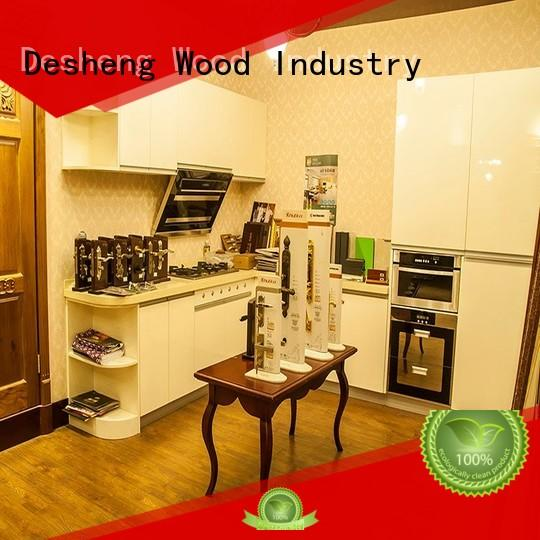ivory gray wood kitchen cabinets supplier for office Desheng Wood Industry