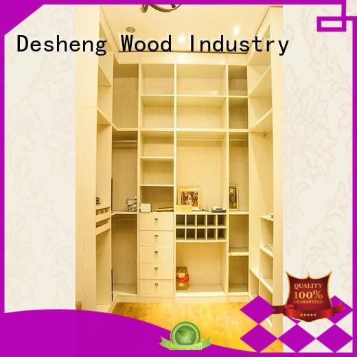 Desheng Wood Industry high end white solid wood wardrobe fast delivery for hotel