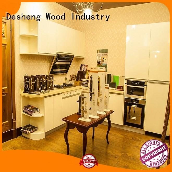 Desheng Wood Industry colorful dark wood kitchen cabinets customization for office