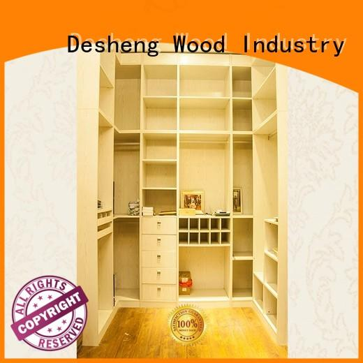 Desheng Wood Industry ivory white solid wood wardrobe with packaging for villa