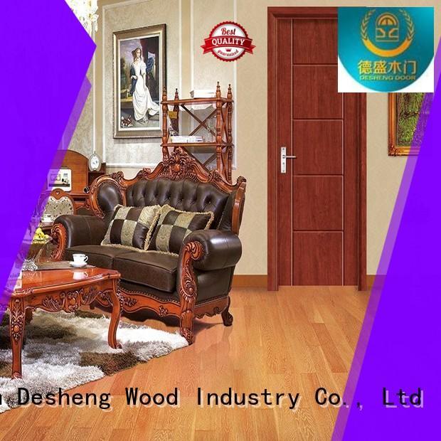 crossing carving lines Desheng Wood Industry Brand solid wood door design
