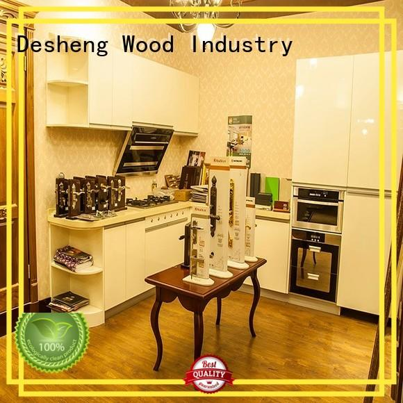 Desheng Wood Industry ivory grey wood kitchen cabinets supplier for sale