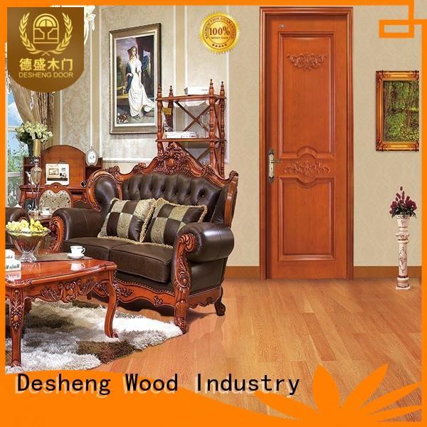 walnut kerf solid wood door design dark Desheng Wood Industry