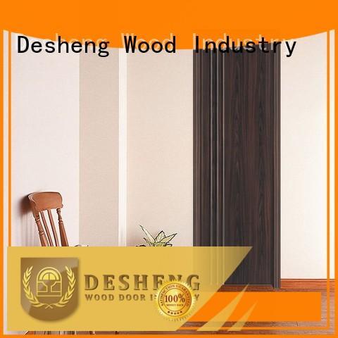 Straight lines walnut wood grain PVC door  DS-V16