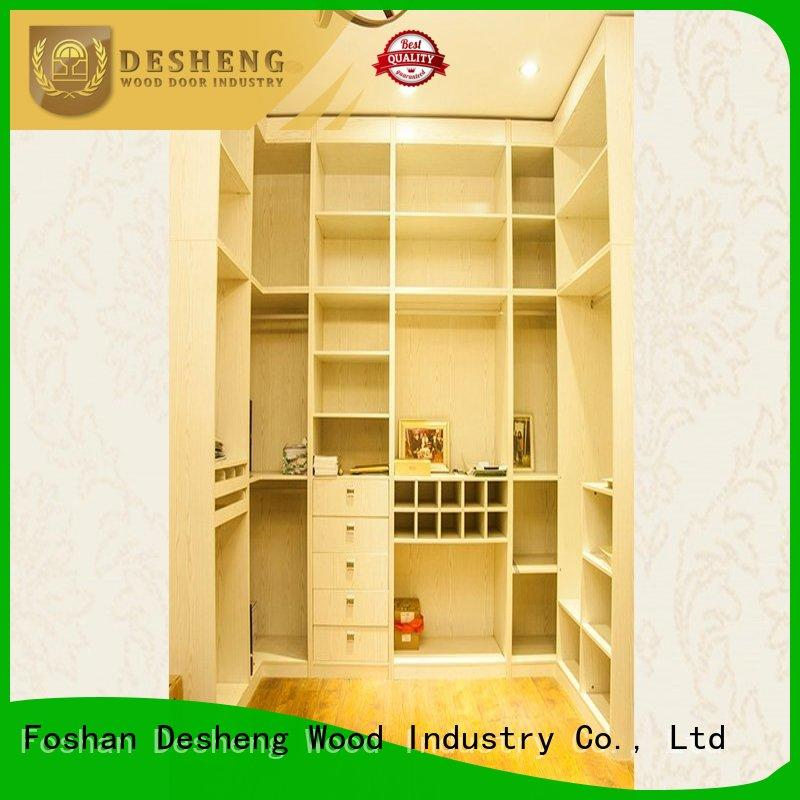 ivory wooden fitted wardrobes wholesale for school Desheng Wood Industry