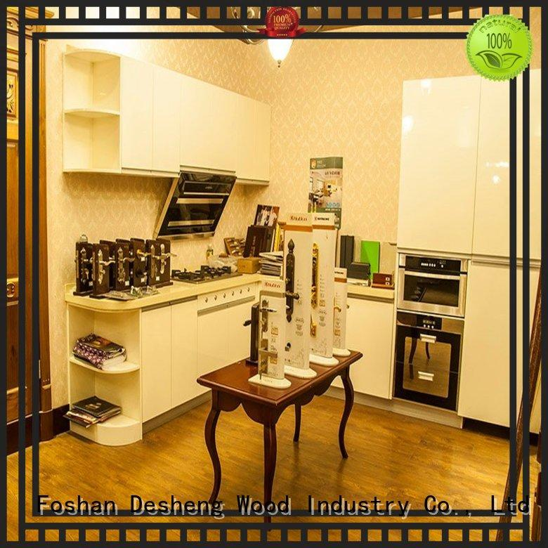 Desheng Wood Industry ivory light wood kitchen cabinets supplier for sale