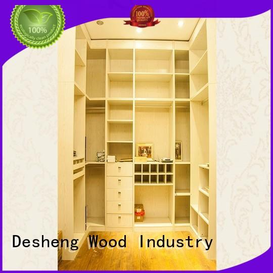 Desheng Wood Industry customized single wooden wardrobe with packaging for hotel