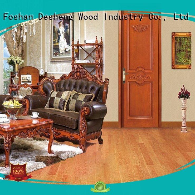Desheng Wood Industry panles solid wood door slab in varnish paint for villa