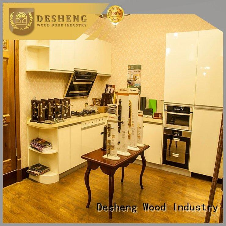 Desheng Wood Industry high quality real wood kitchen cabinets hot sale for hotel
