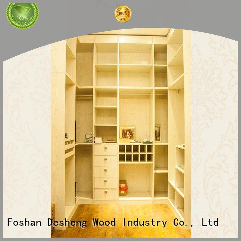 Desheng Wood Industry high end wooden fitted wardrobes multifunctional for villa