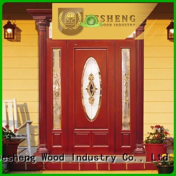 studded wooden door with glass panel manufacturer for villa