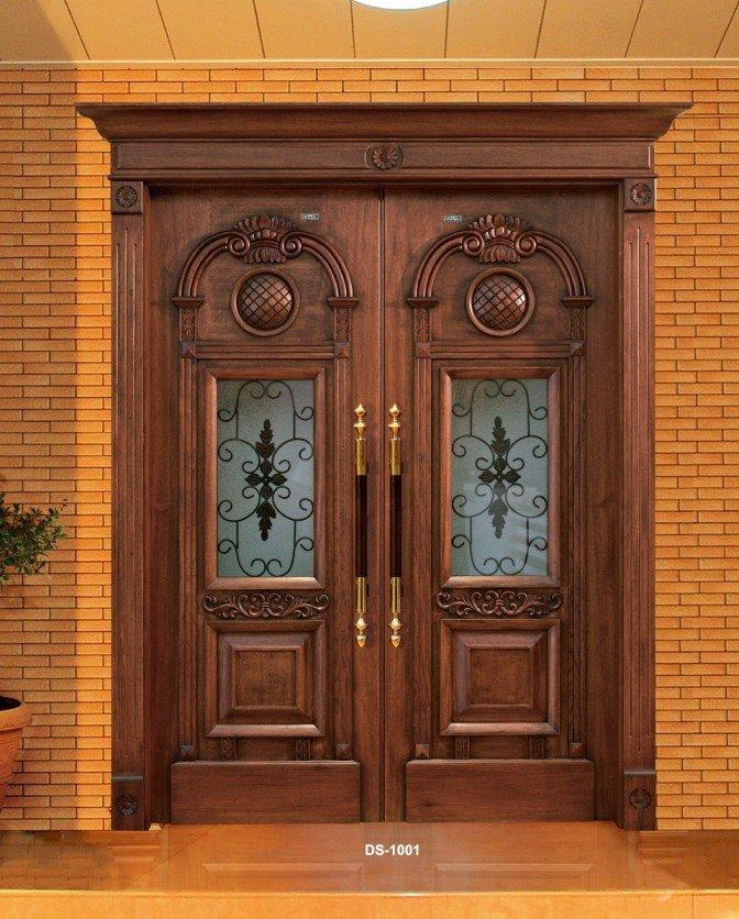 wrought iron decorative double swing open glass door