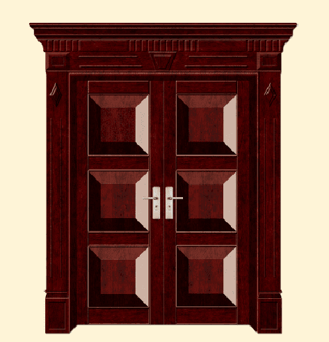 double open steel wooden armored door