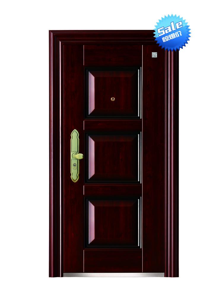 molded steel security door with peephole