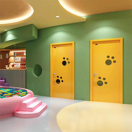 DS-FG04 bright yellow colorful lively footprint design kindergarten door