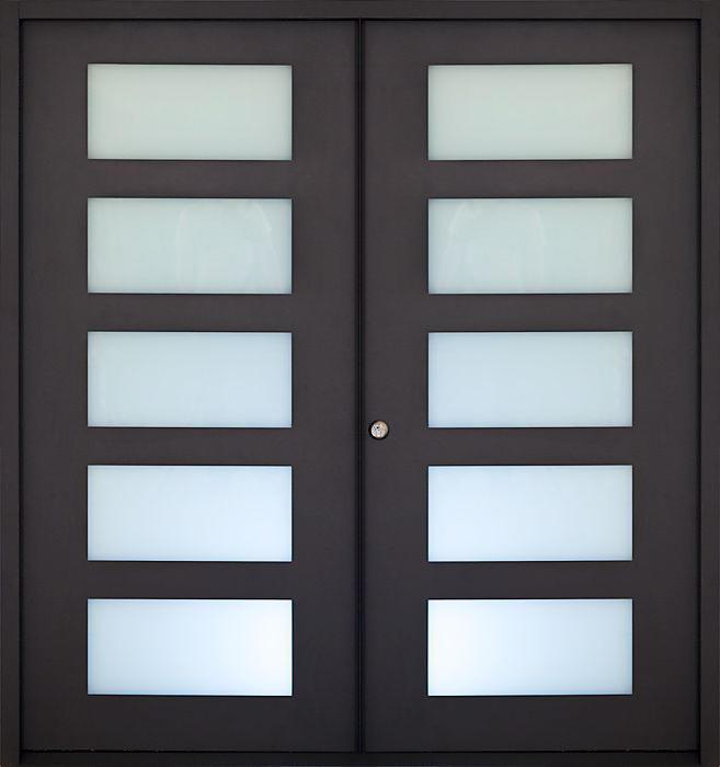 DS-FG05 American walnut veneered double glazing living room door