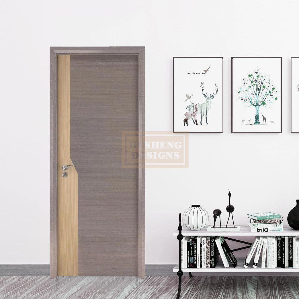 Seamless stitching 3D twilled wood grain laminated plywood door in mix of yellow and grey colors