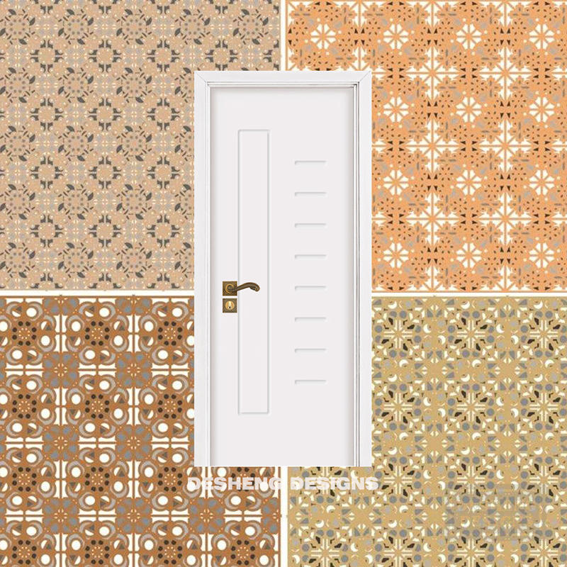 costomized simple design curved lines pattern interior door