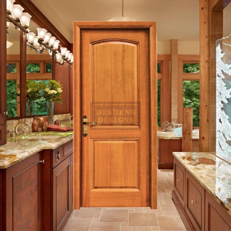 Curved cut raised panles imported oak wood door in varnish paint