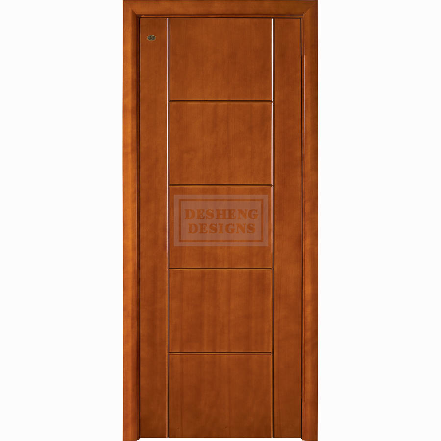 straight lines groove cutting modern design American red cherry wood door