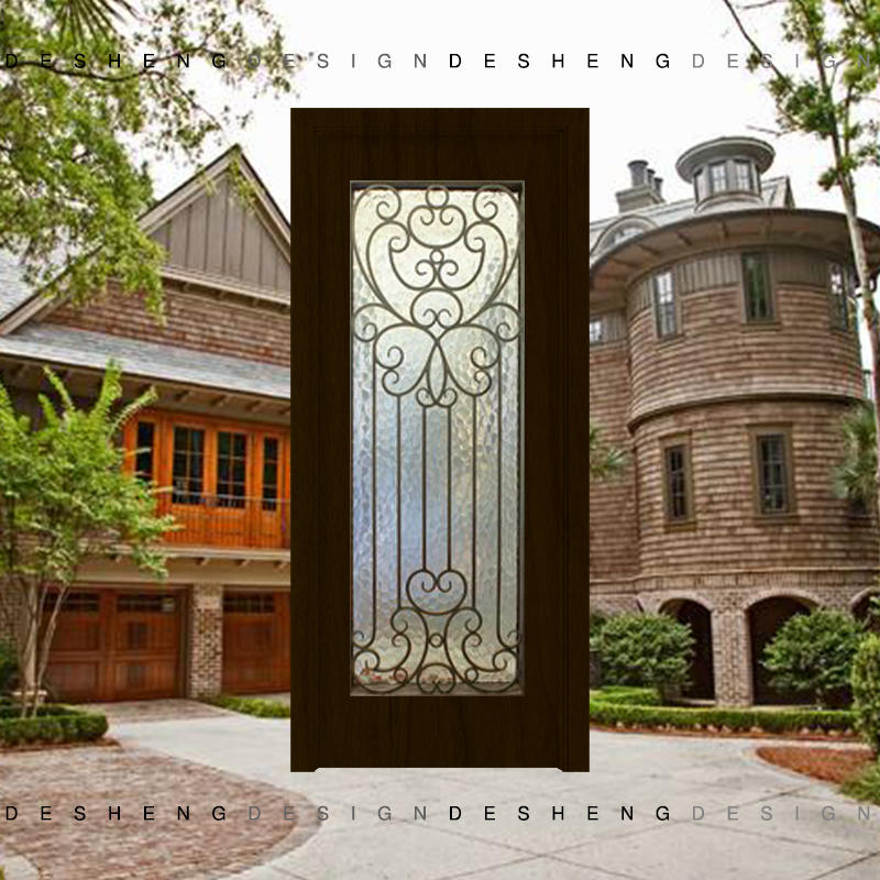 Australian hot dipped galvanized matte black wrought iron door