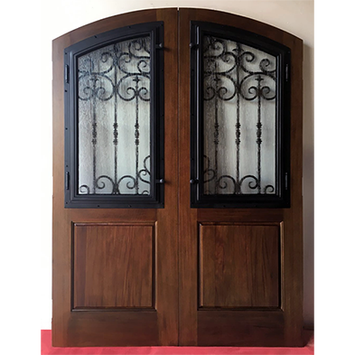Double open wrought iron crafts decorative walnut stained color door