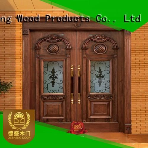 frosted wooden door with glass panel customization for hotel
