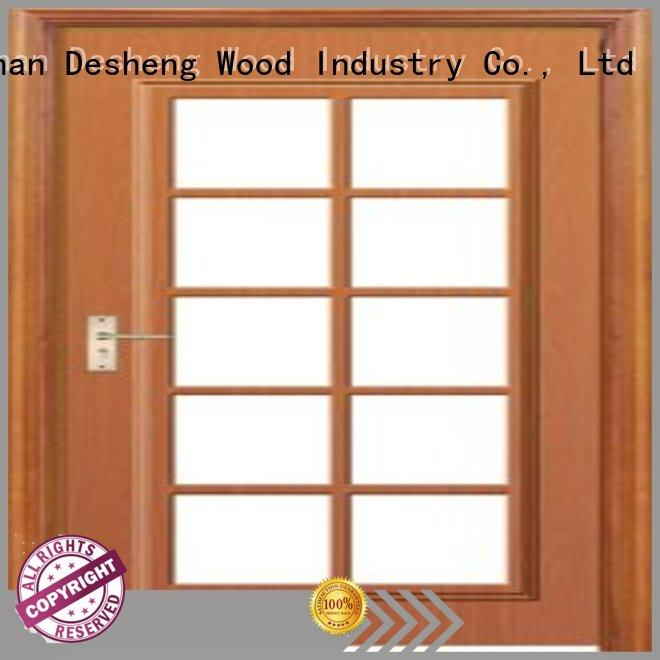 Desheng Wood Industry polished wood door with glass manufacturer for villa