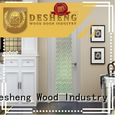 walnut veneer doors with frosted glass for restroom Desheng Wood Industry