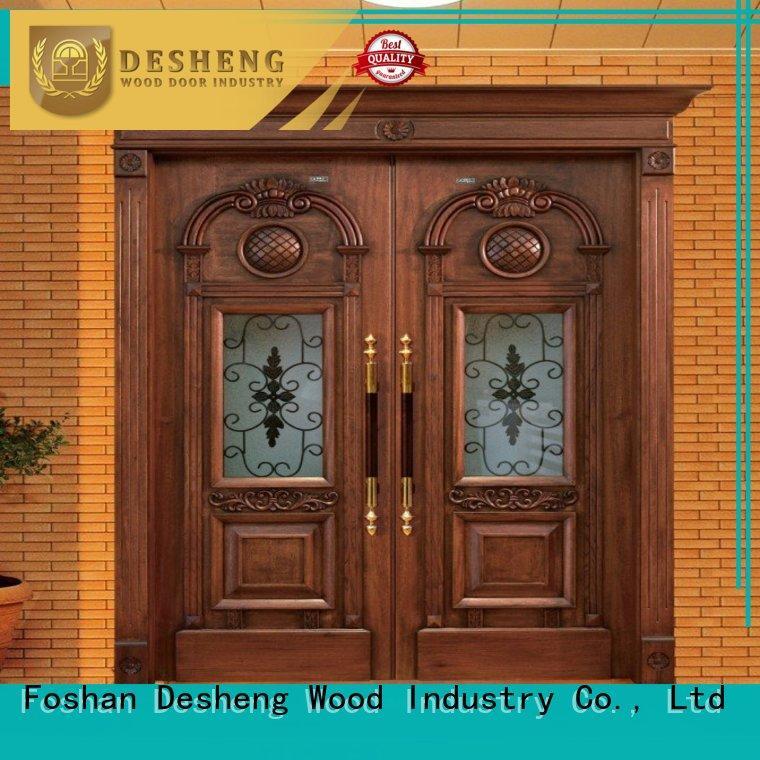Desheng Wood Industry solid wood door with glass manufacturer for villa