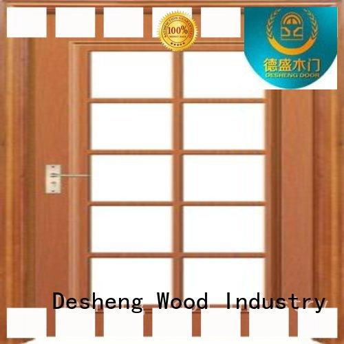 Desheng Wood Industry luxury exterior wood doors with glass panels wholesale for villa