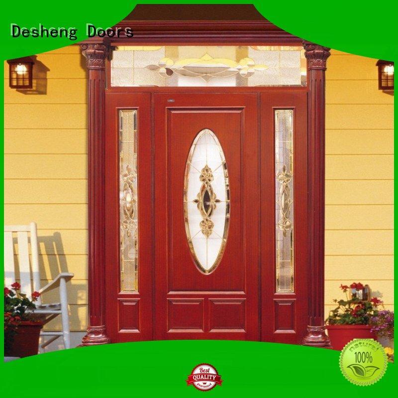 Desheng Doors solid wood door with glass online for hotel
