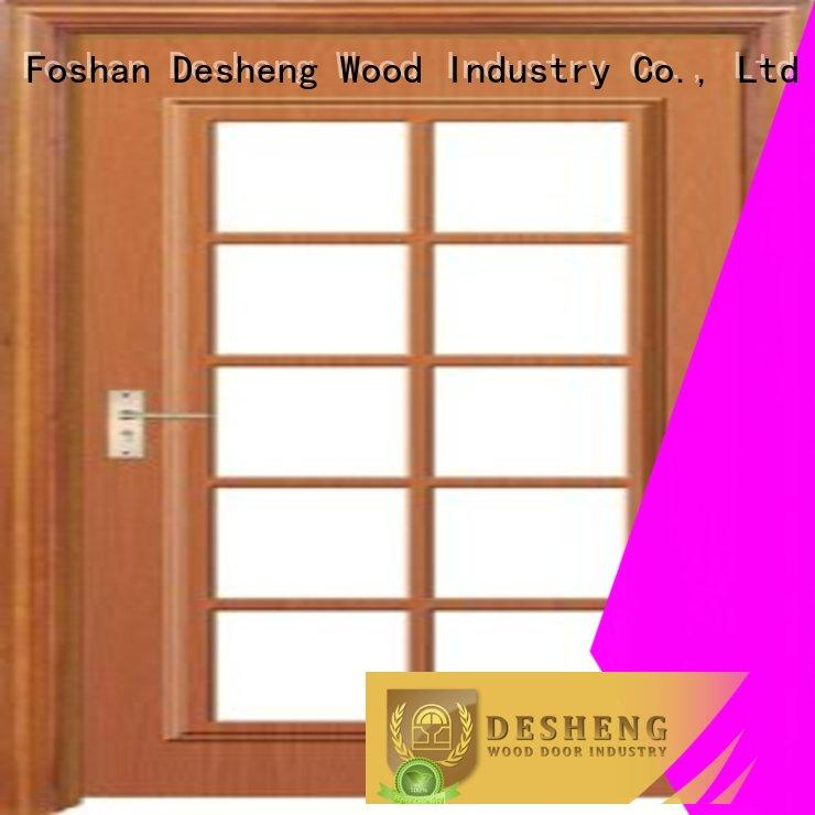 wood entry doors with glass supplier for villa Desheng Wood Industry