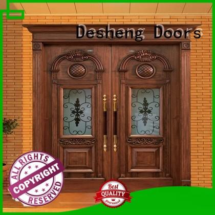 frosted wood door with glass supplier for villa