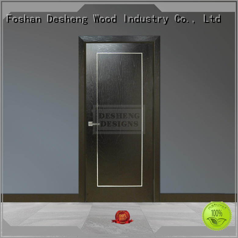 wood veneer door toilet louver door for living room Desheng Wood Industry