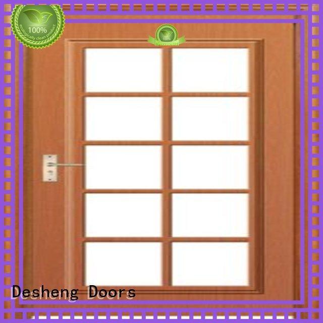 Desheng Doors brass solid wood door with glass manufacturer for hotel