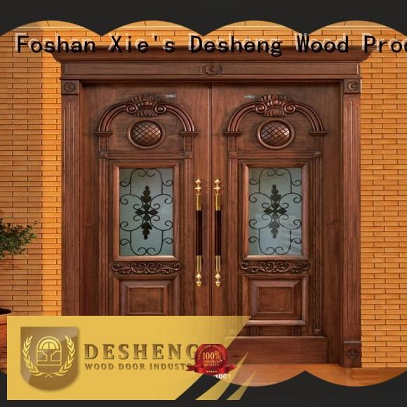 Desheng Doors wood entry doors with glass wholesale for sale