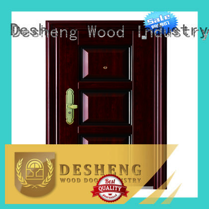Desheng Wood Industry wrought iron doors prices with peephole for farmland