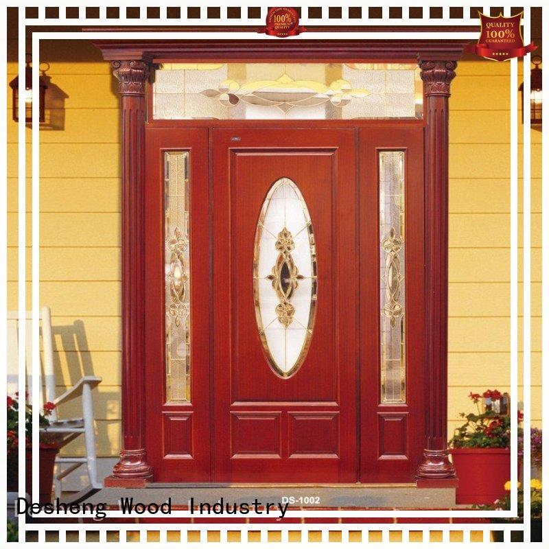 exterior wood doors with glass for hotel Desheng Wood Industry