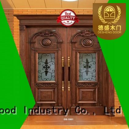 Desheng Wood Industry iron solid wood door with glass supplier for hotel