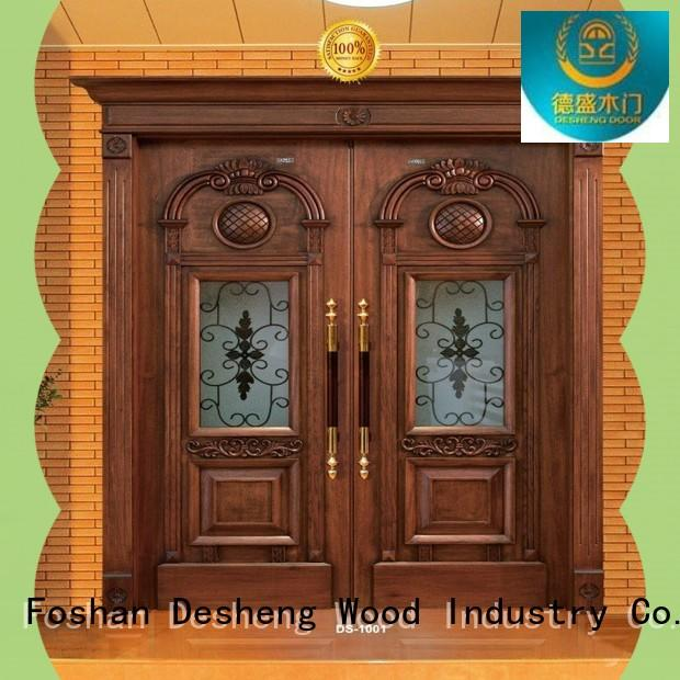 Desheng Wood Industry double solid wood door with glass supplier for villa